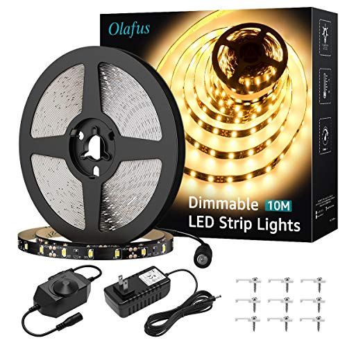 Olafus 32.8ft LED Strip Lights Warm White Dimmable, 12V Flexible Under Cabinet Lighting Strips Kit, 10m 600 LEDs 2835, 3000K Bright Tape Lighting for Indoor Bedroom, UL Listed Plug Supply