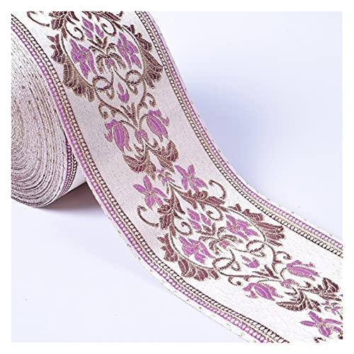 Jacky's Cinta bordada de encaje de 1 m, estilo vintage, bohemio, accesorios para ropa, bordados, motivos de tela, apliques, lentejuelas, flores, decoración de boda, encaje de color (color 6)