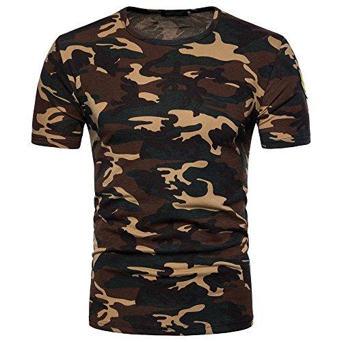 Xmiral T-Shirt da Uomo Casual con Collo Alto e Stampa Camouflage (L,2Giallo)
