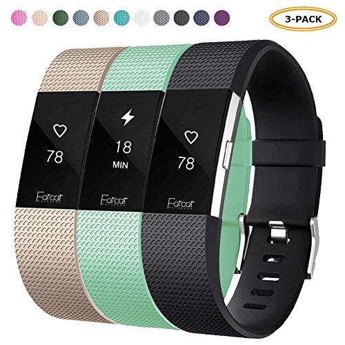 FatcatBand Correa para Fitbit Charge 2, Edición Especial Soft Silicona Deportes Recambio de Pulseras Ajustable Reemplazo Accesorios para Reloj Fitbit Charge 2 Pulsera de Actividad Pequeño y Grande