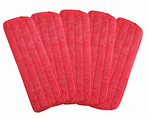 Microfiber Mop Replacement Heads for Wet/Dry Mops Floor Cleaning Pad Fit All Spray Mop (5 Pack)