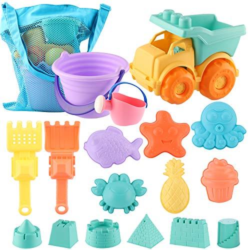 ele ELEOPTION Sandspielzeug Strandspielzeug Sandspielset, Wasserspielzeug inkl.Eimergarnitur und Schaufeln und für Kinder Kleinkinder Jungen Mädchen (17-teilig)