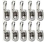 YINETTECH - Set di 10 chiusure a scorrimento 5# argento con tappi a forma di U, ricambio per tende esterne