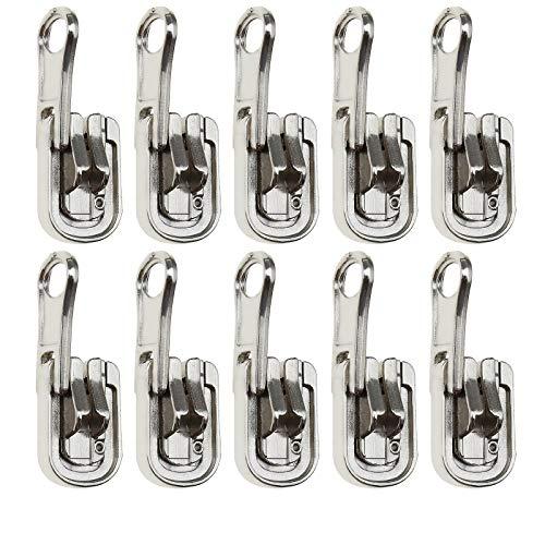 Yinettech - Lote de 10 cierres de cremallera 5# plateados para reparación con tapones en forma de U de repuesto para tiendas de campaña exterior