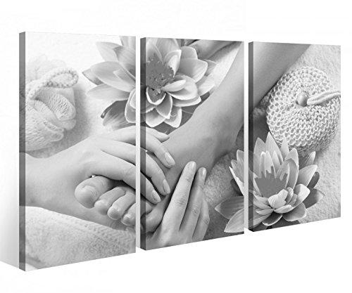 Leinwandbild 3 Tlg. Wellness Massage Fuß Pediküre Spa Leinwand Bild Bilder auf Keilrahmen Holz - fertig gerahmt 9O901, 3 tlg BxH:120x80cm (3Stk 40x 80cm)