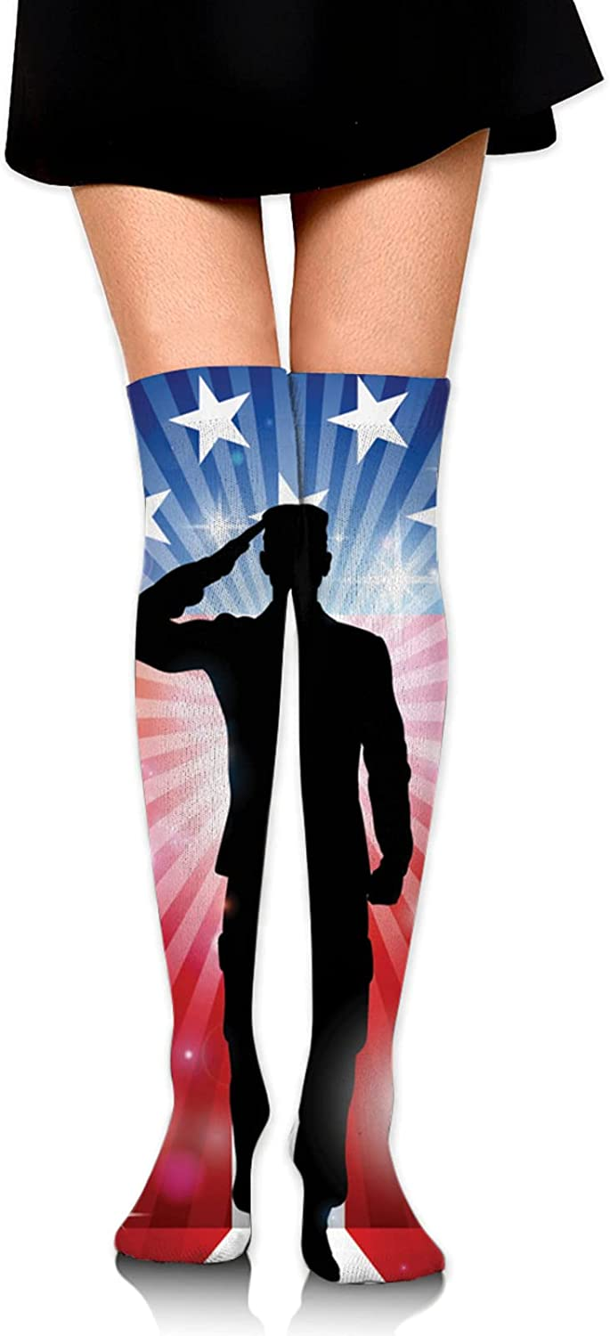 Thank You Soldier Saluting America Flag Women Knee Thigh Socks,Suitable for Sport Warm Stocking Boot Sock