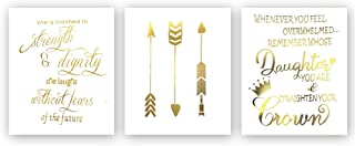 Inspirational Quotes Typography Gold Foil Print, Positive Words Remember Strength Future Cardstock Art Print Motivational Lettering with Arrow Crown Wall Art Poster (8 X 10 inch, Set of 3, Unframed)