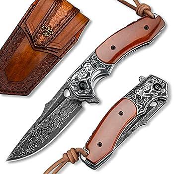 Handmade Japanese VG10 Damascus Steel Pocket Knife Bone Handle,Leather Sheath,Liner Lock,Folding Knives for Outdoors Camping Hiking Fishing Hunting