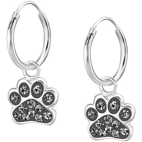 JAYARE Ohrringe Mädchen Hunde-Pfoten Tatzen 925 Sterling Silber Glitzer-Kristalle diamant-schwarz Kinder Creolen