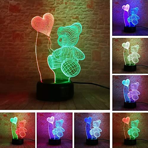 3D gummibeertjes en luchtballonnen optische illusie lampen leuke 7 kleuren wisselende tabel bureau-nachtlampje met USB-kabel voor slaapkamer home decoratie verjaardag Kerstmis cadeau