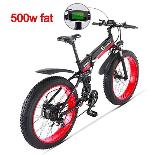 Unbekannt 500 W 26 Pollici Elettrici da Uomo Bicicletta 48 V 12Ah Fat Tire Beach Bike Mountain Bike Full Suspension MTB Ebike 21 velocità