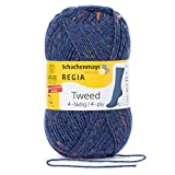 Schachenmayr REGIA Hilos para Tejer A Mano 4-Fädig Tweed, 50G Jeans Tweed