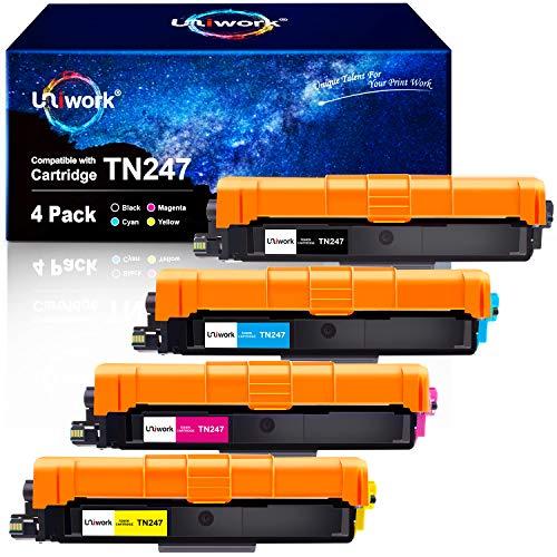 Mit Chip - Uniwork Toner Ersatz für Brother TN247 TN-247 TN-243 TN243 für Brother DCP-L3550CDW MFC-L3750CDW MFC-L3770CDW MFC-L3730CDN HL-L3210CW HL-L3270CDW DCP-L3510CDW HL-L3230CDW MFC-L3710CW