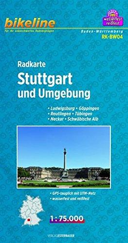Bikeline Radkarte Stuttgart und Umgebung, Ludwigsburg, Göppingen, Reutlingen, Tübingen, Neckar, Schwäbische Alb, 1 : 75 000, wasserfest und reißfest, GPS-tauglich mit UTM-Netz