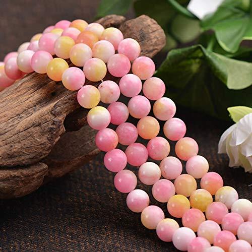Piedras preciosas de ágata rosa, perlas de 6 mm, redondas, piedra natural de ágata, piedras semipreciosas, perlas con agujero para enhebrar joyas, cadenas y pulseras