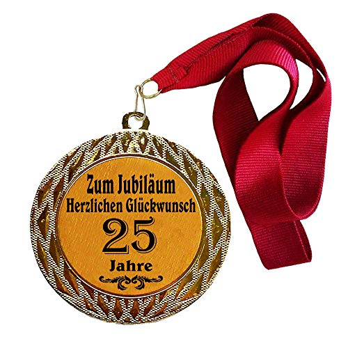 Larius Group Medaille Orden zum Jubiläum 25 Jahre Auszeichnung Ehrenorden zum Geburtstag Geschenk Jubilar Persönlichen Orden Wunschtext (mit Halsband)