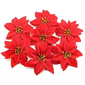 Uergrace 10Pcs 14cm Red Artificial Christmas Flower Poinsettia Red Christmas Tree Decor Ornaments Silk Flower DIY Holiday Floral Arrangements