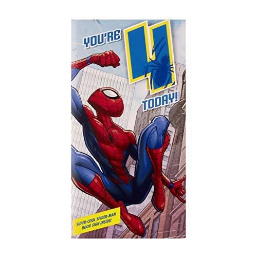 Biglietto Di Compleanno Per 4 Anni E Distintivo Di Hallmark, Motivo Spider-Man
