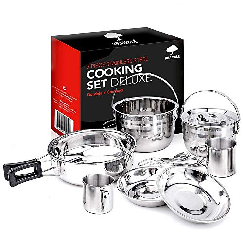 Bramble - 9 Pc Stainless Steel Camping Cooking Set - Pots, Pans, Plates & More