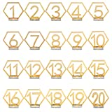 Wedding Table Numbers, 1-20 Acrylic Table Numbers with Holder Base Gold Hexagon Hollow Out Table Number Reception Stands Décor Mirror Surface for Wedding, Catering, Party, Event by Maggie Yuan