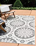 Unique Loom Outdoor Botanical Collection Floral Abstract Transitional Indoor and Outdoor Flatweave Gray  Area Rug (7' 0 x 10' 0)