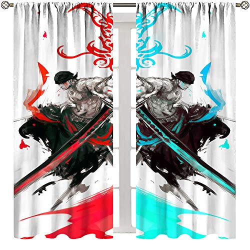 SSKJTC Blackout Rod Pocket Curtains for Bedroom Anime one Piece Roronoa Zoro Curtains for Living Room Kids Room W63xL63 Inch