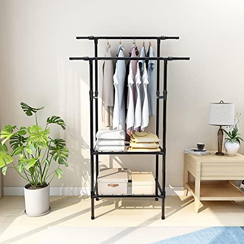 Armario para ropa con perchero de dos polos y estantes de 2 niveles, de tubo de hierro recubierto de acero estable y duaralbe, color negro
