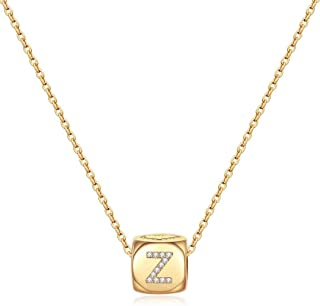 M MOOHAM 14K Gold Plated Dainty Initial Necklaces, Dice Pendant Letter Initial Necklaces for Teen Girls Women, Small Cute ...