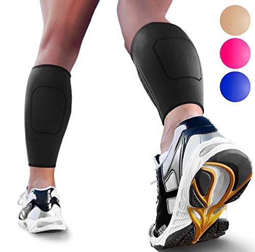 Calf Compression Sleeves by SPARTHOS (Pair) – Leg Compression Socks for Men and Women – Shin Splint Calf Pain Relief Calf Air Travel Flight Nurses Maternity Basketball Football Soccer (Black-S)