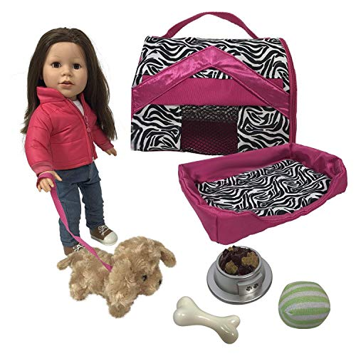 The New York Doll Collection - bambole Completare Cucciolo Cane Gioca impostato include Cuddly Cane, Guinzaglio, Vettore, Letto, Cibo & Palla - Perfetto Giocattolo Per 18 pollici / 46 cm Bambole
