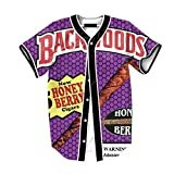 Raylans Camisa de béisbol casual para hombre con estampado floral 3D, de manga corta, con botones, Hombre, BRT-MC011-Color5-L, Color5., UK M(Tag L)