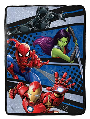 Marvel Avengers Fight Club Raschel Blanket - Measures 60 x 80 inches, Kids Bedding Featuring Black Panther, Spiderman, Iron Man, Gamora - Fade Resistant Super Soft - (Official Marvel Product)
