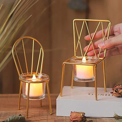 miaoyu Candelabro de metal con forma de silla, candelabro para decoración de escritorio, sala de estar, decoración de mesa (color: plata)