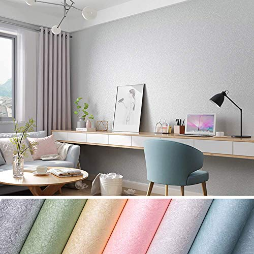 KINLO Selbstklebende Tapeten 0.61 * 5M PVC wasserfest Möbelfolie mit Seidenfaden Muster Wandaufkleber für Wohnzimmer TV Hintergrund Wand (Grau)