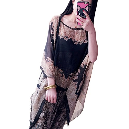 Blusas y camisas JLTPH Mujeres Caftan Pareo de Playa Bikini Cover Up Tops Shawl Bufanda para Mujer