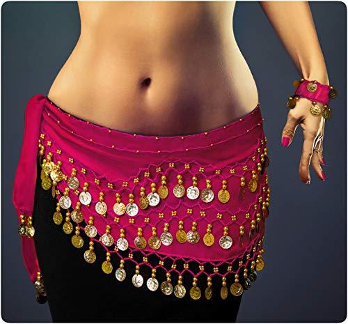 Belly Dance Costume per il ballo del ventre Velo per le anche Cintura con monete finte Cintura di colore rosa fucsia NEU/Marchio MyBeautyworld24