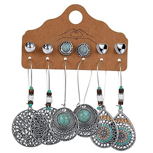 FEARRIN Pendientes Diseño único de Moda Vintage Boho étnico Pendientes Colgantes Conjunto Luna Hoja Hueco Pendiente Pendiente Accesorios de joyería para el oído para Mujeres 51602