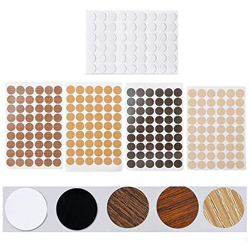 5 hojas Tapón para tornillos adhesivos Etiquetas Autoadhesivas para Agujeros de Tornillo 5 colores Embellecedor Cubre Tornillos Adhesivo Proteger Pisos de Madera Dura diámetro 21 mm (270 unidades)