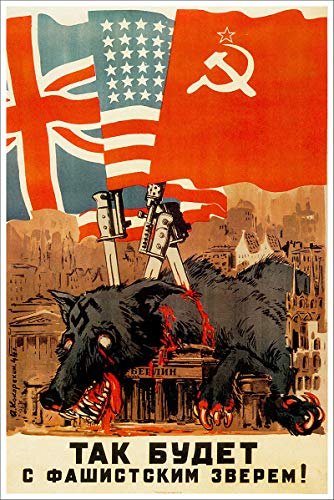 The Dead Wolf Vintage Russian Soviet World War Two WW2 WWII Military Propaganda Poster CANVAS Print