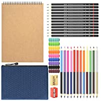 HomeMall 描画スケッチ鉛筆セット 28パック アートキット スケッチブック描画鉛筆付き 両面カラー 鉛筆消しシャープナー 鉛筆バッグ 子供 大人 アート初心者用