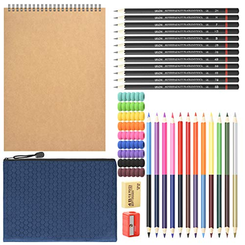 HomeMall Drawing Sketching Pencils Set, 37 Packs Art Kit with Sketchbook Draw Pencils Dual Ended Color Pencil Eraser Sharpener Pencil Bag for Kids Adults and Art Beginners…