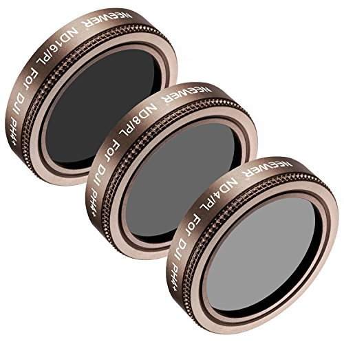 Neewer 3Piezas Kit de filtros de Lente para dji Phantom 3Pro, Multicapa, Alta definición, Cristal y aleación de Aluminio Marco Incluye: ND4Filtro ND8/PL/PL, y ND16/PL (Oro)