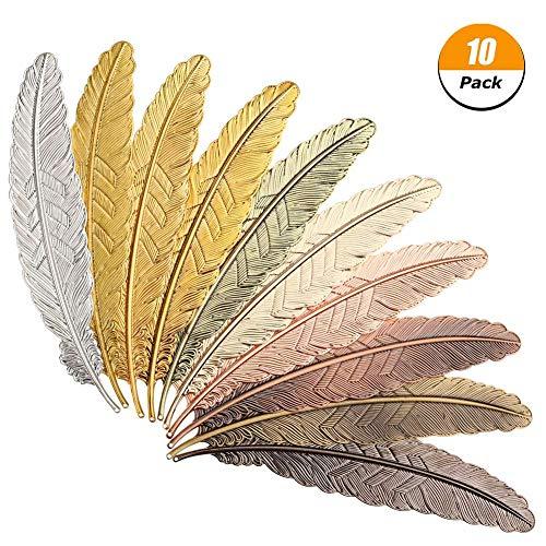 iufvbgxdh - Set di 10 segnalibri a forma di piuma, in metallo, per adulti e bambini