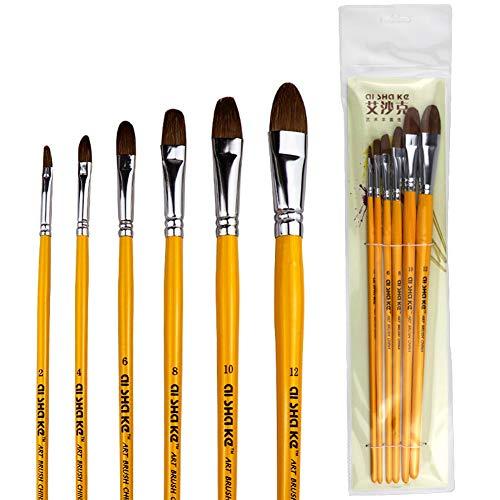 OUYAWEI 1 stk/6 stks aquarel verf penselen gladde kleur schilderij penselen 4