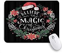 KAPANOUマウスパッド 魔法のクリスマスサンタクロースの帽子を信じて ゲーミング オフィス おしゃれ 防水 耐久性が良い 滑り止めゴム底 ゲーミングなど適用 マウス 用ノートブックコンピュータマウスマット