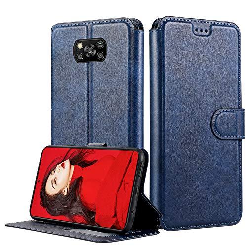 LeYi Hülle für Xiaomi Poco X3 NFC/Poco X3 Pro Mit HD Schutzfolie,Leder Handyhülle Stoßfest Wallet Etui Magnet Schutzhülle Tasche Slim Silikon Cover Bumper TPU Case für Handy Poco X3 NFC Matt Blau