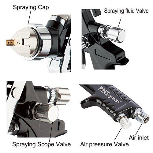 PNTGREEN Professional HVLP Gravity Feed Air Spray Gun - 1.4mm -1.8mm Nozzle,20 Oz (Free Spray Gun Keychain)