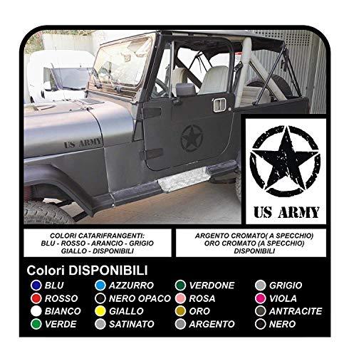 GRAFIC 4 Autocollants cm 25 ÉTOILE + US Army pour SUV 4X4 Stickers Decals Tuning (Noir)