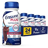 Ensure Plus Nutrition Shake, 24 Count, With 16 Grams of High-Quality Protein, Meal Replacement Shakes, 8 Fl Oz, Rich Dark Chocolate