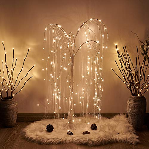 PEIDUO LED 4FT White Willow Tree 180 Warm White Lights Plug in Adapter Prelit Tree Branches for Christmas Indoor Outdoor Home Holiday Wedding Party Garden Decor